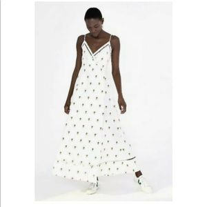 Farm Rio pineapple embroidered long dress